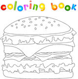 Hamburger unpainted. Coloring book for kids about fast food Royalty Free Stock Photos