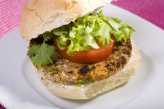 Hamburger végétarien de pois chiche Photos libres de droits