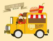 Hamburger van. fast food delivery. Royalty Free Stock Image