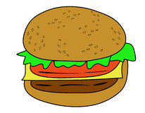 Hamburger Vector. On white background Stock Photo