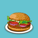 Hamburger vector food on plate vector illustration