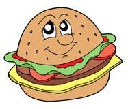 Hamburger vector illustration. Hamburger with smiling face - vector illustration Royalty Free Stock Photo