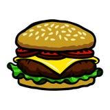 Hamburger. A vector illustration of a hamburger with cheese and toppings Stock Image