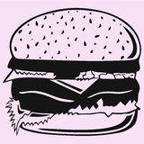 hamburger vector silhouette Stock Photography
