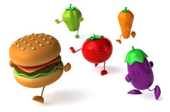 Hamburger and vegetables Royalty Free Stock Photo