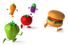 Hamburger and vegetables Royalty Free Stock Photos