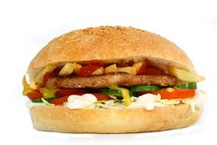 Hamburger with vegetables Royalty Free Stock Photos