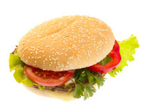 Hamburger with vegetables. Stock Photo