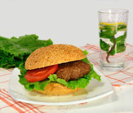 Hamburger with vegetables and lemonade with mint Stock Photos