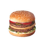Hamburger with vegetables on white Stock Image