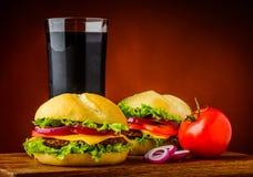 Hamburger, vegetais e cola Imagens de Stock