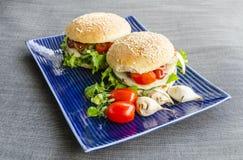 Hamburger vegetariani con i panini casalinghi Fotografia Stock Libera da Diritti
