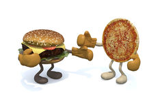 Hamburger versus pizza royalty-vrije illustratie