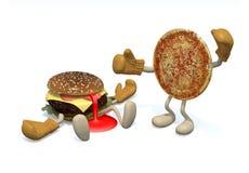 Hamburger versus pizza: de winnaar is pizza stock illustratie