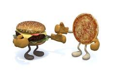 Hamburger vs pizza Stock Photography