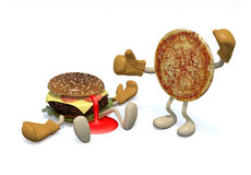 Hamburger vs pizza: the winner is pizza Royalty Free Stock Photos