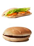Hamburger vs. sandwich Royalty Free Stock Photos