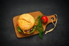 Hamburger w Odgórnym widoku Obrazy Royalty Free