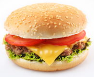 Hamburger on a white Stock Photos