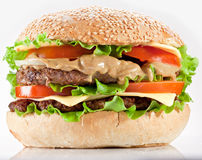 Hamburger on a white Stock Images