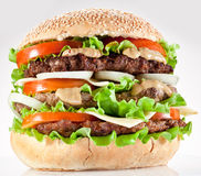 Hamburger on white Royalty Free Stock Images