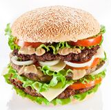 Hamburger on white Stock Photography