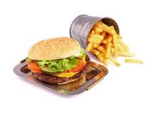 Hamburger  on white Stock Photo
