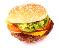 Hamburger  on white Royalty Free Stock Photos