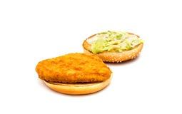Hamburger. A hamburger on white background stock photography
