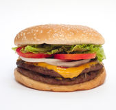 Hamburger on white background (angle 2). Hamburger on white background. Look tasty Royalty Free Stock Photos