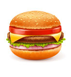 Hamburger on white background Royalty Free Stock Photos