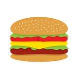 Hamburger. On White Background Vector Illustration Stock Images