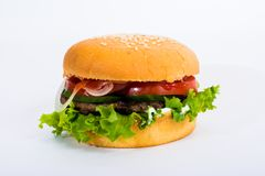 Hamburger on white background. stock photo