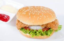 hamburger on white dish Royalty Free Stock Image