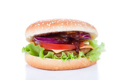 Hamburger  on white Stock Photos