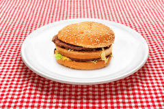 Hamburger on white plate Royalty Free Stock Images