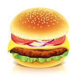 Hamburger  on white vector illustration Royalty Free Stock Image