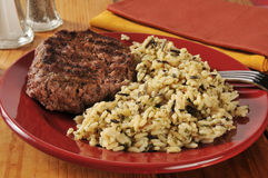 Hamburger and wild rice Royalty Free Stock Photos
