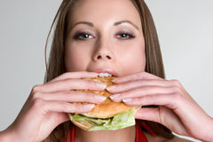 Hamburger Woman Stock Photo
