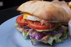 Hamburger z jajkiem i cebulkowym kolorem Obrazy Royalty Free