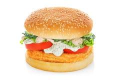 Hamburger z kurczakiem odizolowywającym Zdjęcie Stock