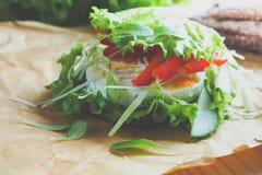 Hamburger z warzywami, gotowanym jajkiem i żyto chlebem, Pojęcie zdrowy łasowania lub jarosza jedzenie Zdjęcia Royalty Free
