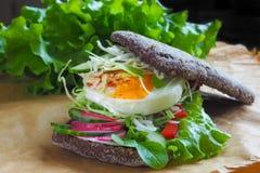 Hamburger z warzywami, gotowanym jajkiem i żyto chlebem, Pojęcie zdrowy łasowania lub jarosza jedzenie Fotografia Stock