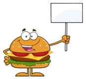 Hamburger-Zeichentrickfilm-Figur, die ein leeres Zeichen hält Lizenzfreie Stockbilder
