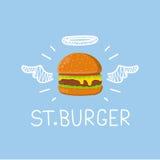 Hamburgerconcept St Burger& x22; met engelenhalo en vleugels Vlakke en krabbelvector Stock Afbeelding