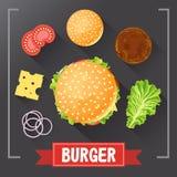 Hamburgeringrediënten Hamburgerdelen op bord Hamburger met ondertekende ingrediënten Vastgestelde voedselhamburger Origineel hamb Royalty-vrije Stock Fotografie
