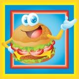 Hamburgerkarikatur mit Rahmen Stockbild
