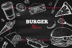 Hamburgermenu Vector getrokken hand 2 stock illustratie