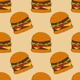 Hamburgerpatroon Hand getrokken illustratie Heldere beeldverhaalillustratie voor menuontwerp, stof en behang stock illustratie