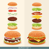 Hamburgerreeks 1 Stock Afbeelding